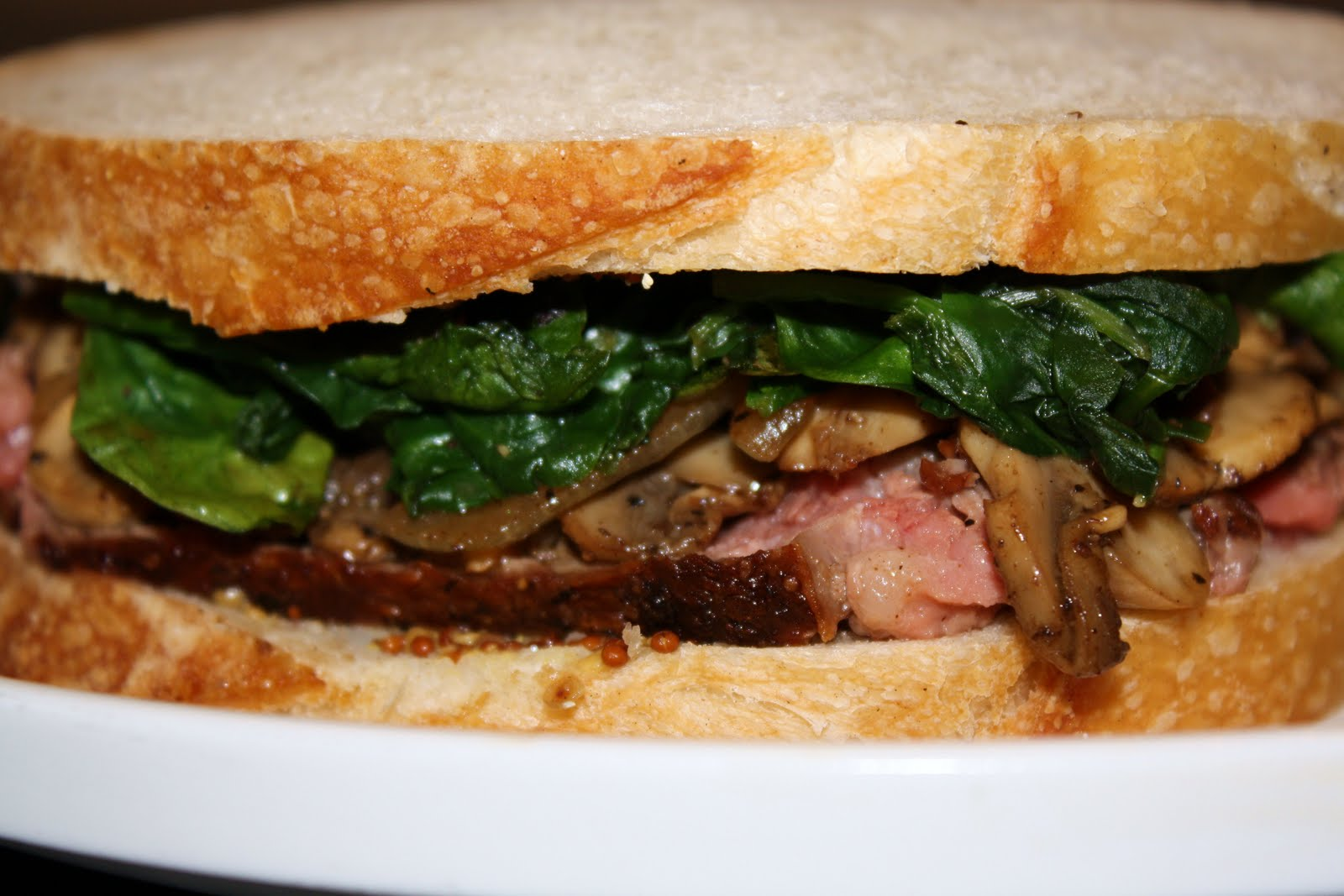 steak sandwiches with sauteed mushrooms and spinach... 30 minutes