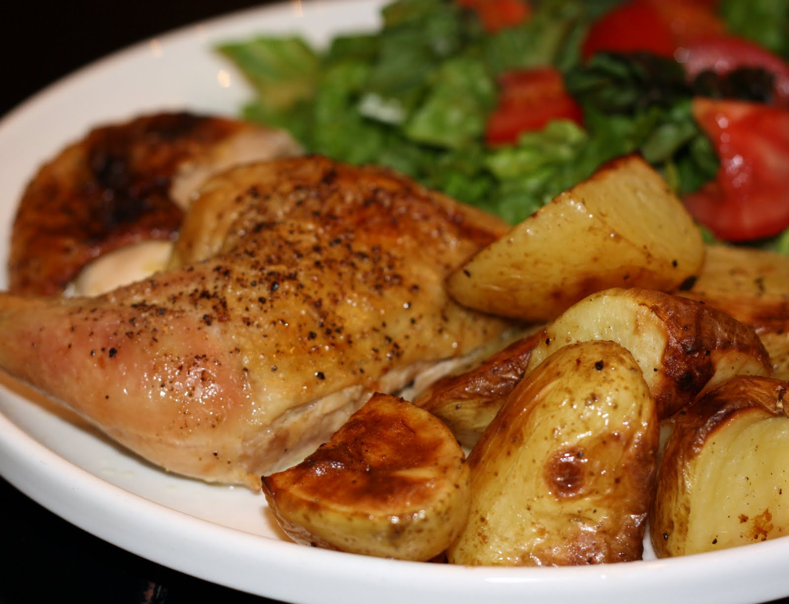 what's for dinner?: spatchcocked chicken with potatoes... 1 hour