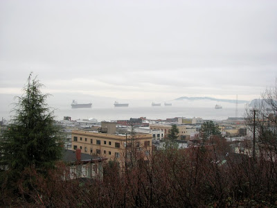 Ships in Clouds on the Columbia River at Astoria