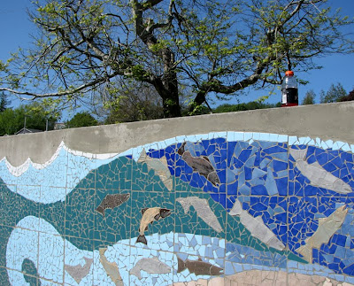 Salmon Wall Mosaic, Tapiola Park, Astoria, Oregon