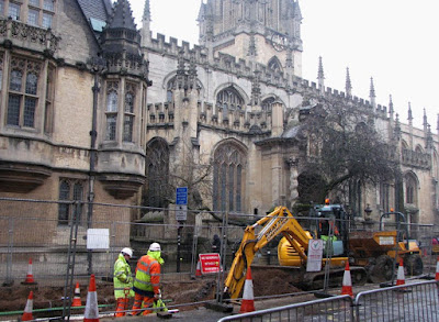 The High Street, Oxford - Construction in the Rain