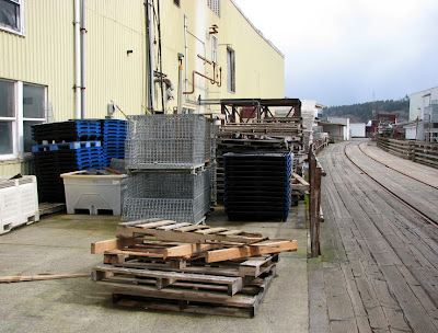 Pallets, Crab Traps, and Tracks along the River Walk, Astoria, Oregon