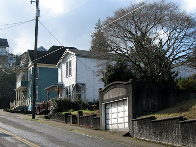 Houses and a garage on 11th Street, Astoria, Oregon