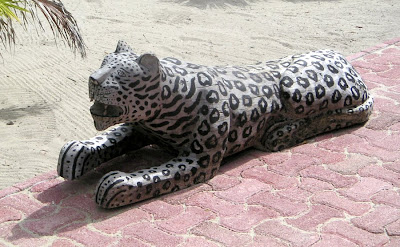 Carved wood jaguar, Belize