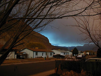 Bright blue flash of sky, Palisade, Colorado