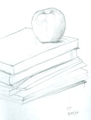 Sheryl Todd - Pencil Drawing of Apple and Books