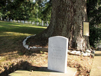 Grave Stone of Joshua L. Knapp (note the spelling) at the Fort Stevens Post Cemetery, Warrenton, Oregon