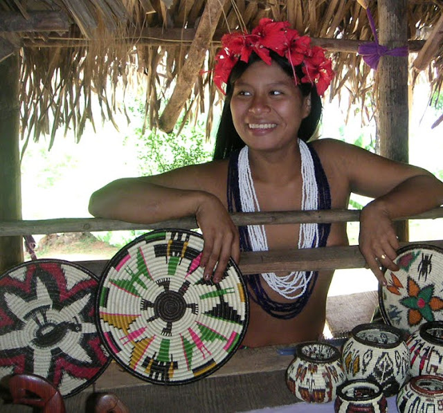 Embera Woman with Native Crafts, Panama