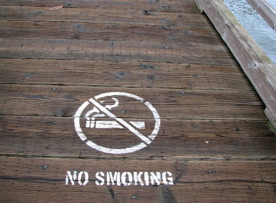No Smoking Sign on Waterfront Park Pier