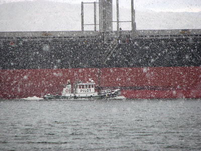 River Pilots at Work in the Snow - Astoria, Oregon