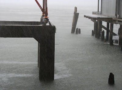 Rain on the Columbia River in Astoria, Oregon