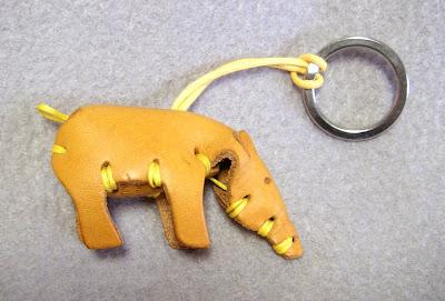 Leather tapir keychain