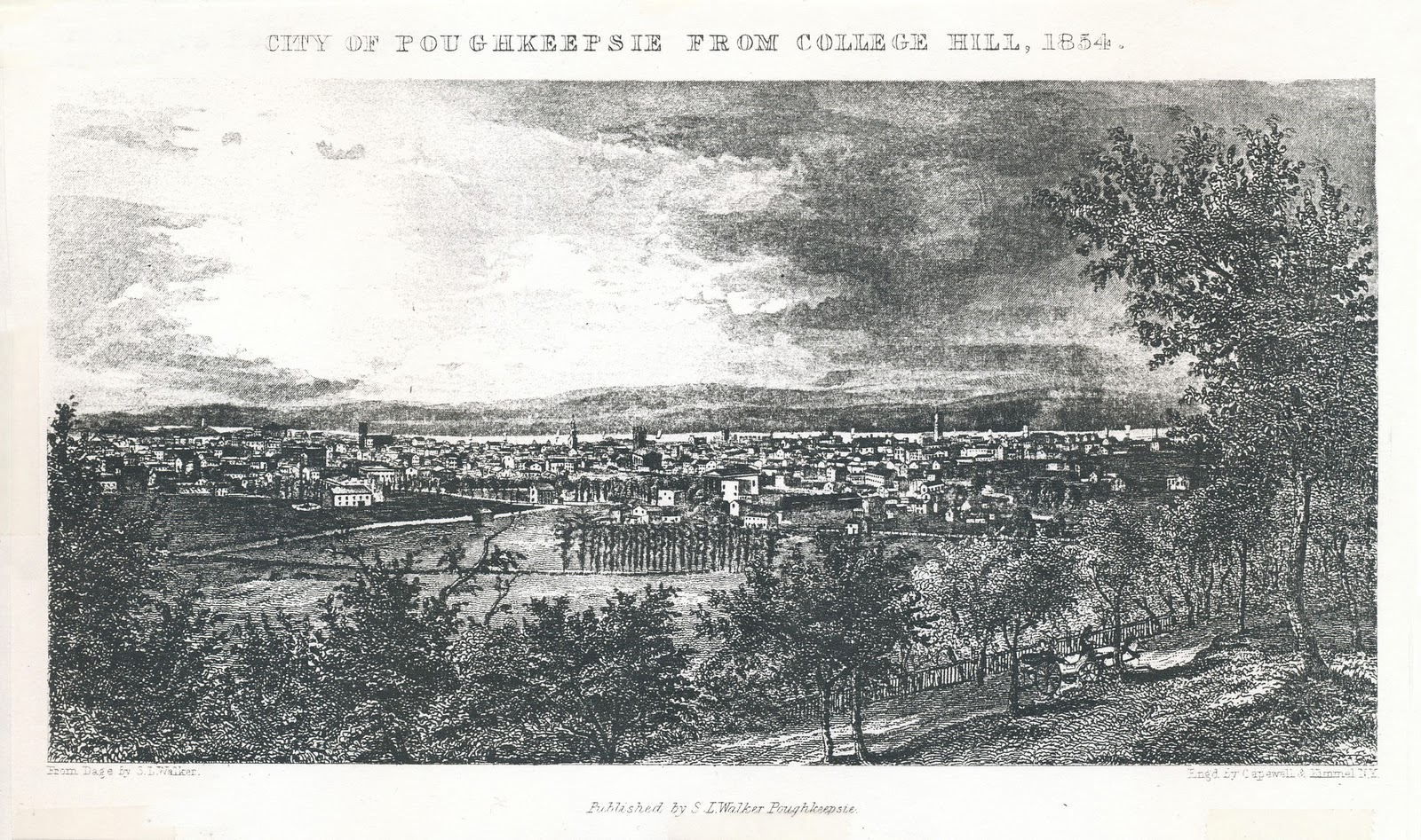 1854 Engraving of Poughkeepsie, New York