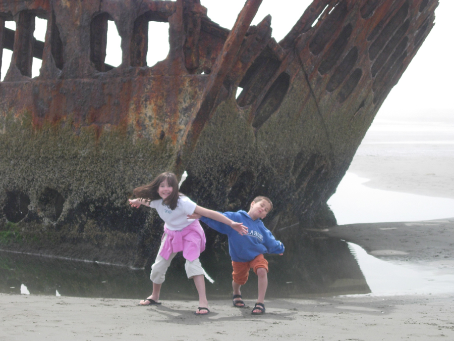 Kids at the Wreck of the Peter Iredale