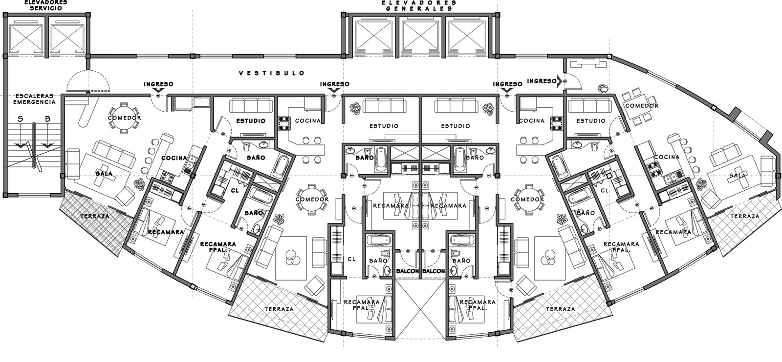 Edificio Residencial / Floor Plans for Residential Building