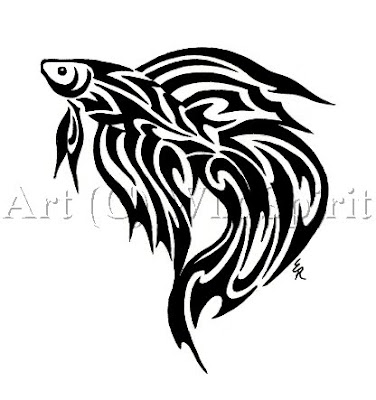Betta Fish Tribal Tattoo