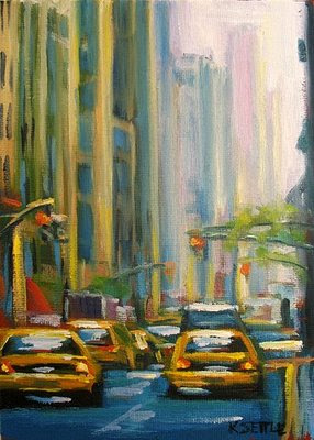 Taxi Cabs on Madison Avenue, New York City - 5x7 Oil Painting