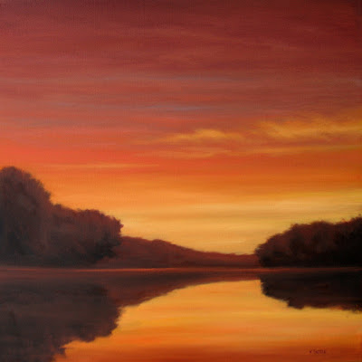 Sunset over the lake oil painting