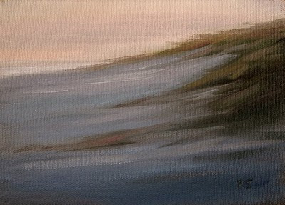 Beach grassy dunes at dusk oil painting