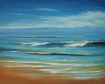 Outer Banks ocean waves oil painting by Kerri Settle