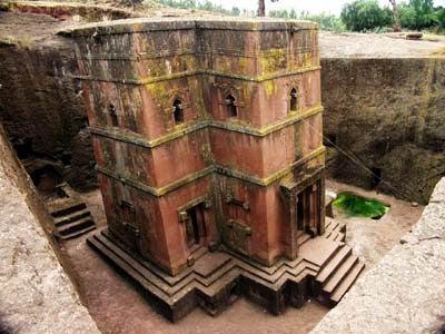 Obiective turistice Etiopia: biserica Sf. Gheorghe Lalibela