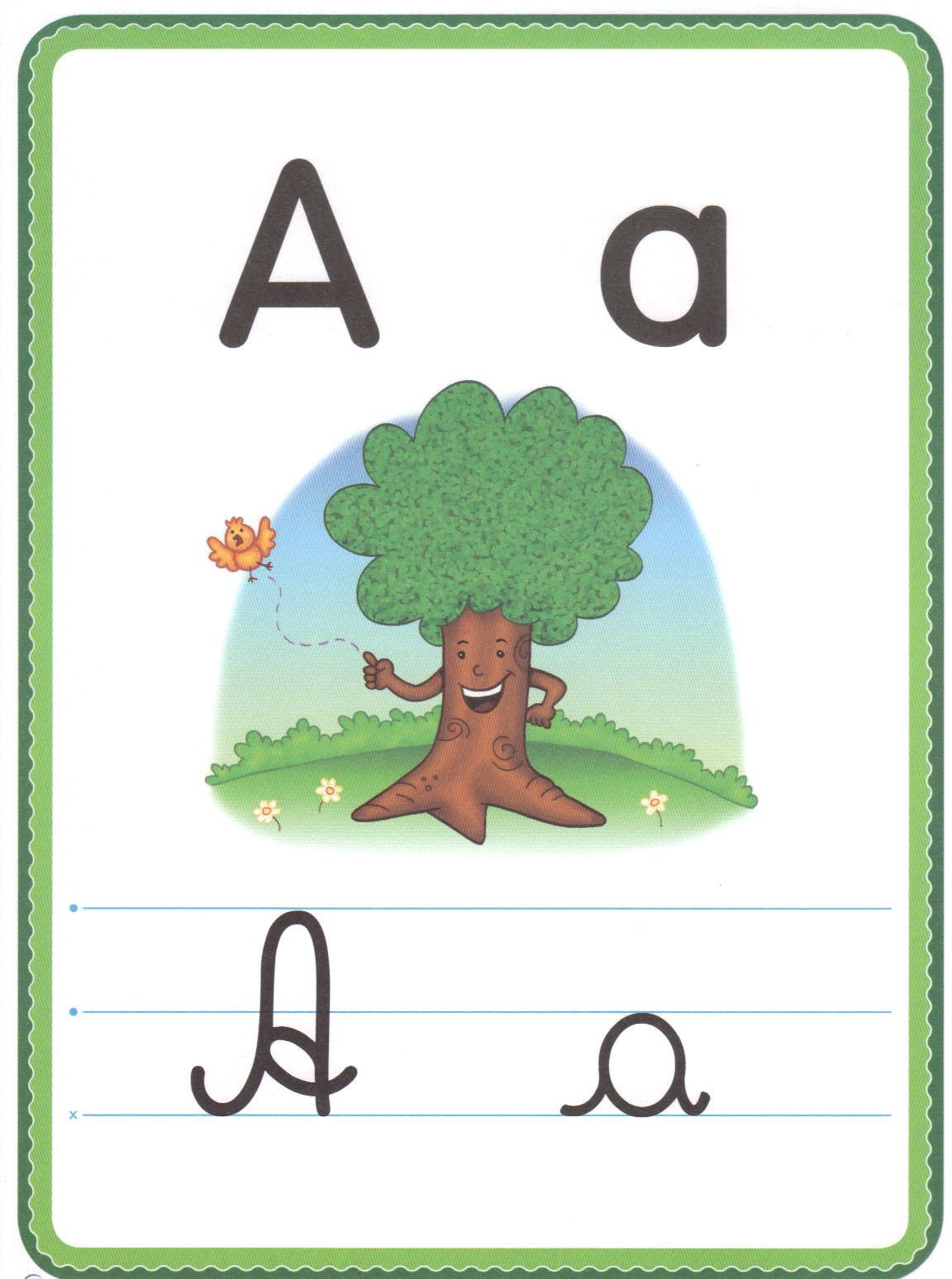 Alfabeto de Letra Cursiva Ilustrado