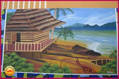 mural painting mural pemandangan laut