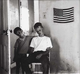 Michael and Christopher with American Flag