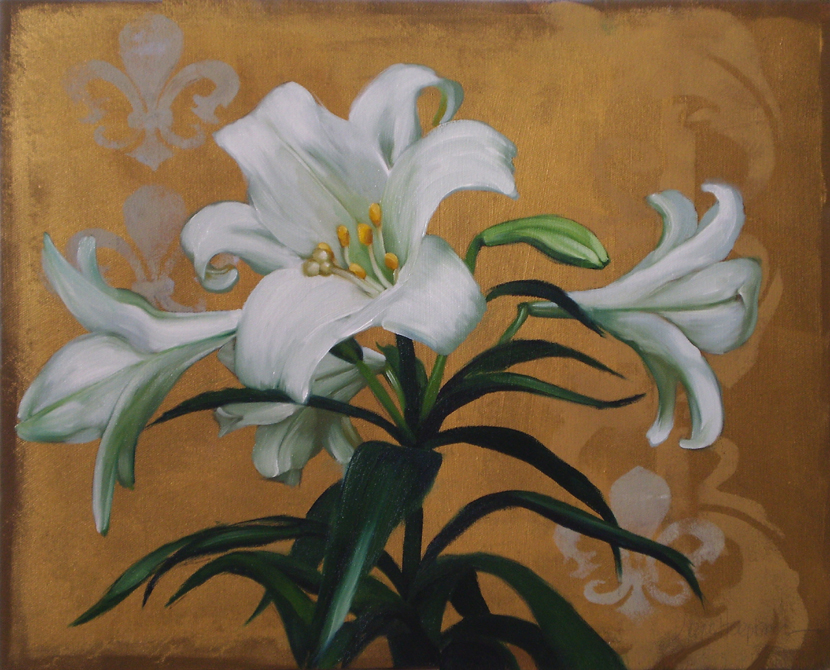 Diane Hoeptner: Lily on Gold 16x20 white flower original painting