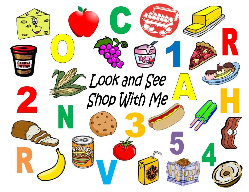 I Also Used The Same Pictures To Create A Collage Of Pictures, Letters, And  Numbers. Your Child Can Play I Spy As You Grocery Shop By Looking For The  Items, ...  Grocery Words