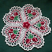 Rose Budding Hearts Crochet Doily PDF Pattern
