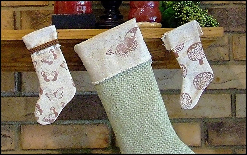 scatter sunshine burlap and muslin christmas stockings