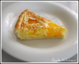 baked, single crust apricot pie made with tin apricot, ground almond ...