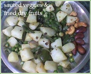 Frying Paneer and Mix Vegetables
