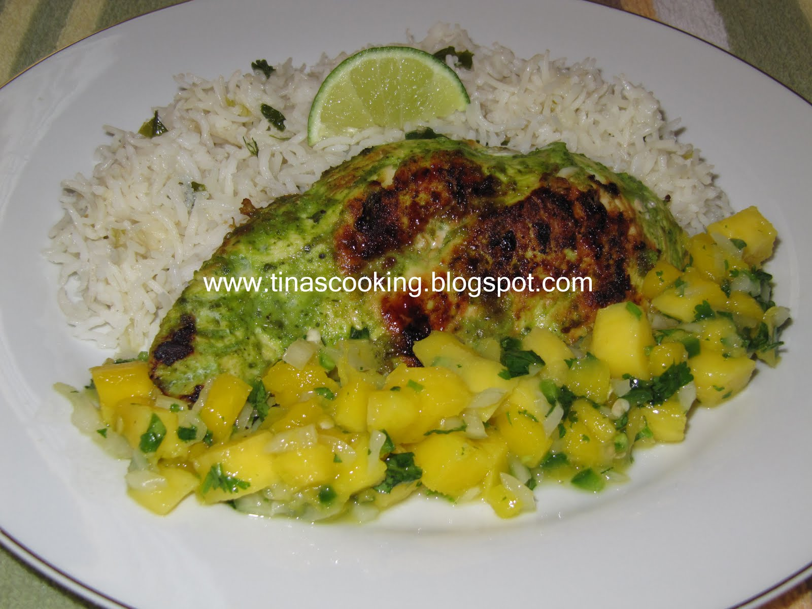 Tina's Cooking: Cilantro Lime Chicken With Scallion Rice And Mango ...