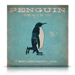 Penguin Skate company winter inspired vintage style artwork on canvas original LIMITED EDITION NO.