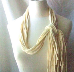 Serene necklace - cotton strips necklace in ivory colors