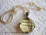 CRANKY Vintage Dictionary Glass Pendant