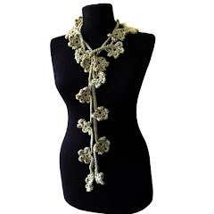 WAS 25...Moss green flower blossom crochet necktie,necklace,lariat,chooker,skinny scarf,scarflette
