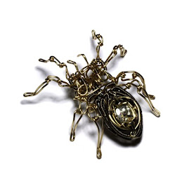 Steampunk Sculpture - OOAK STEAMED SPIDER - Brass wire with vintage watch body