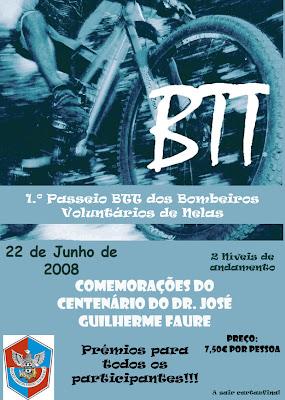 Cartaz do 1º Passeio BTT dos Bombeiros Voluntários de Nelas Concelho de Nelas fotos Nelas B.t.t BTT