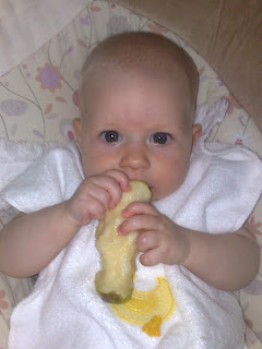 Baby eating solid pear