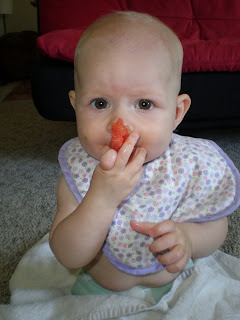 Introduce baby to solid tomato