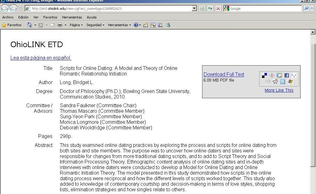 Dissertation online dating