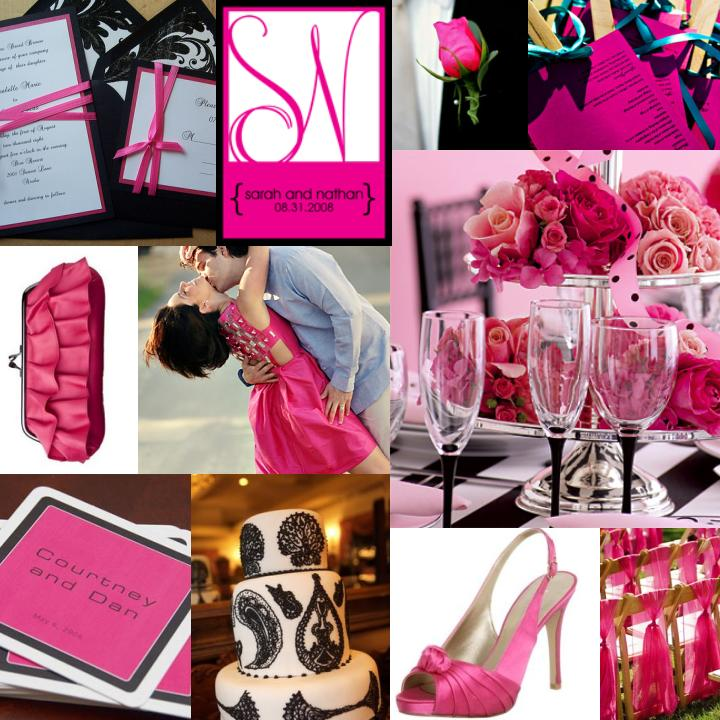 pink black and white wedding pink