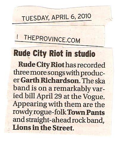 rude city riot in studio