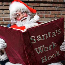 Jolly Santa and his work book