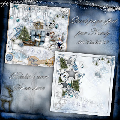 """Free scrapbook quick page """"Snow time"""" from Nanly Design - Full size"""