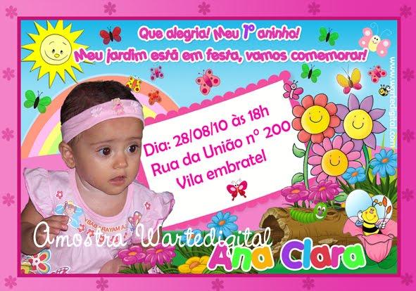 CONVITES INFANTIS  CONVITE JARDIM ENCANTADO