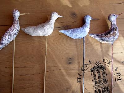 ptaszki z masy papierowej